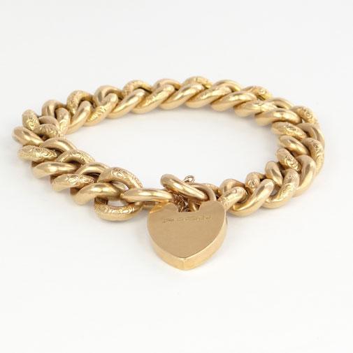 Antique 15ct Gold Engraved Curb Bracelet
