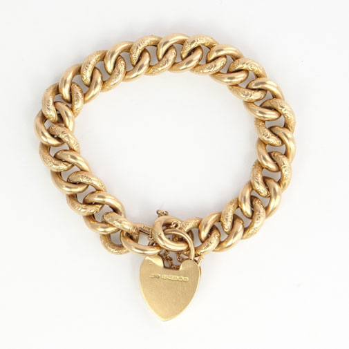 15ct Gold Engraved Curb Bracelet