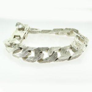 Vintage Sterling Silver Gents Curb Bracelet 1978