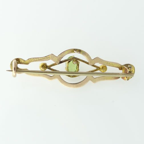 Peridot and Seed Pearl Brooch