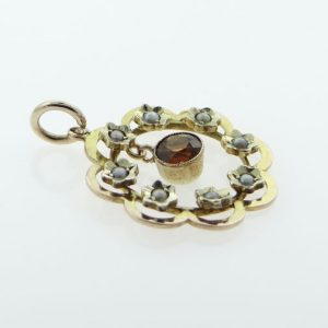 9ct rose gold citrine and seed pearl pendant