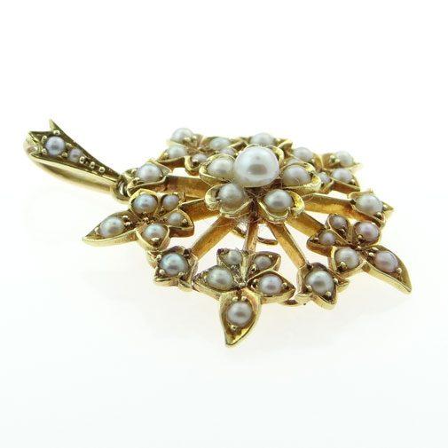 Gold Seed Pearl Pendant circa 1900