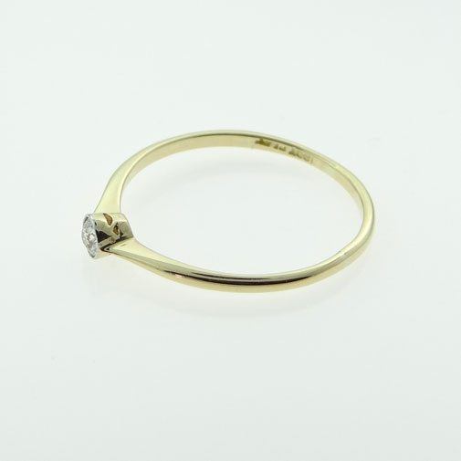 18ct Gold and Platinum Diamond Solitaire Ring