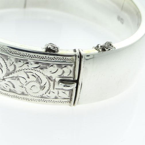 Vintage Sterling Silver Half Engraved Bangle