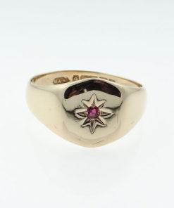 Vintage Rose Gold Ruby Set Signet Ring