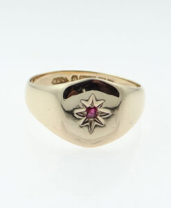 Vintage Rose Gold Ruby Set Signet Ring