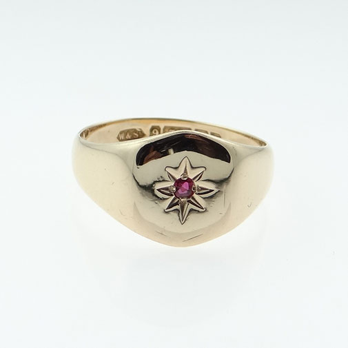 b317c9beb80ce 9ct Rose Gold Ruby Set Signet Ring - Birmingham 1923