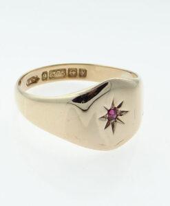 Vintage 9ct Rose Gold Ruby Set Signet Ring