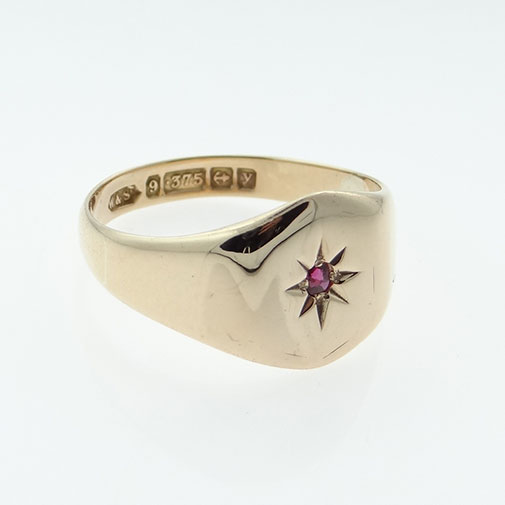 Vintage 9ct Rose Gold Ruby Set Signet Ring