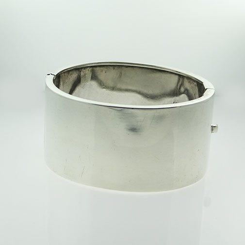 Sterling Silver Half Engraved Cuff Bangle