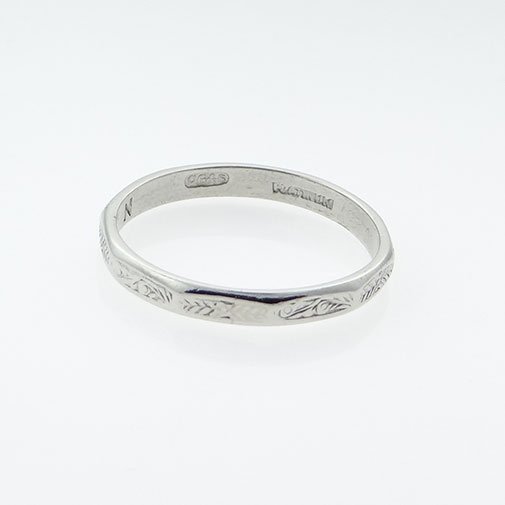 etched img vintage scroll wedding band sides art narrow platinum engraved with deco pattern image ring bands