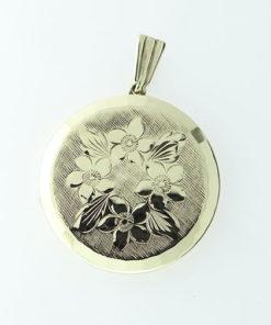 Vintage Georg Jensen Gold Engraved Locket