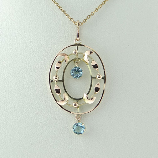 9ct Rose & Yellow Gold Blue Topaz Pendant with Chain