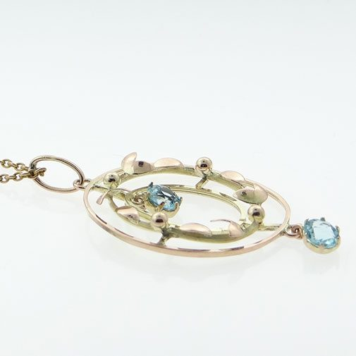 Rose & Yellow Gold Blue Topaz Pendant