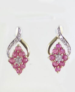 9ct Ruby and Diamond Earrings