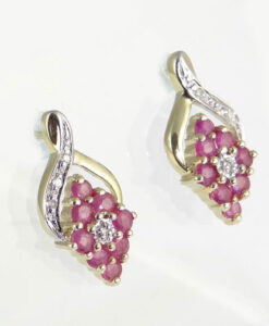Gold Ruby and Diamond Earrings