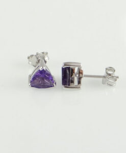 Gold Trillion Cut Amethyst Stud Earrings