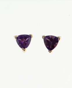 gold amethyst stud earrings