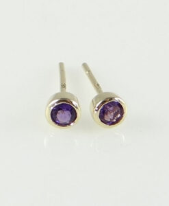 Round Amethyst Stud Earrings