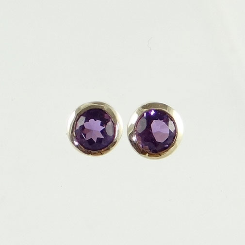Round .46ct Amethyst Stud Earrings