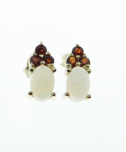 9ct gold opal and garnet earrings
