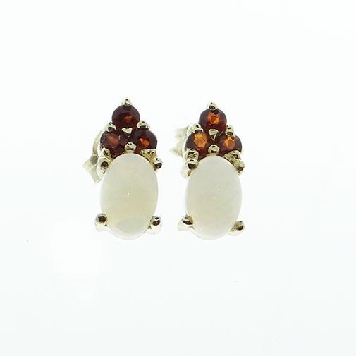 9ct gold opal and garnet earrings