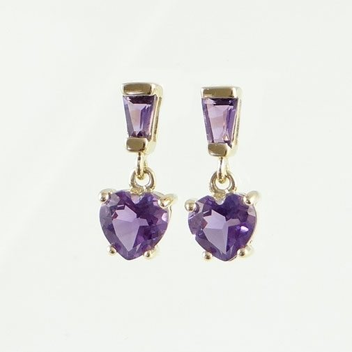 Amethyst Heart Drop Earrings