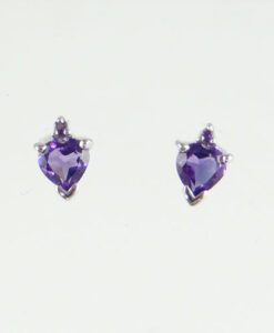 Amethyst Heart Stud Earrings