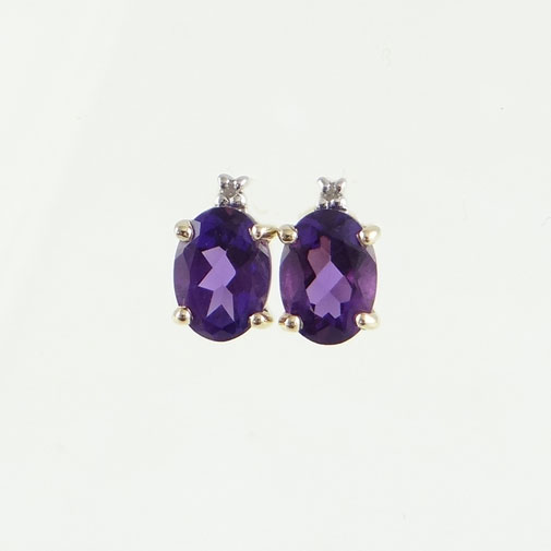 gold amethyst and diamond earrings