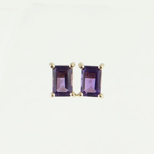 9ct Gold Amethyst Stud Earrings