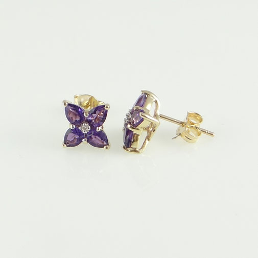 9ct Gold Amethyst and Diamond Cluster Earrings