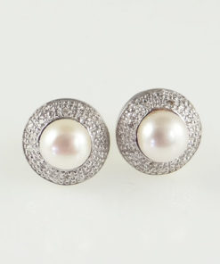 gold pearl and diamond halo earrings