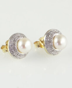 pearl and diamond halo earrings