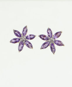 Amethyst and Diamond Flower Cluster Earrings