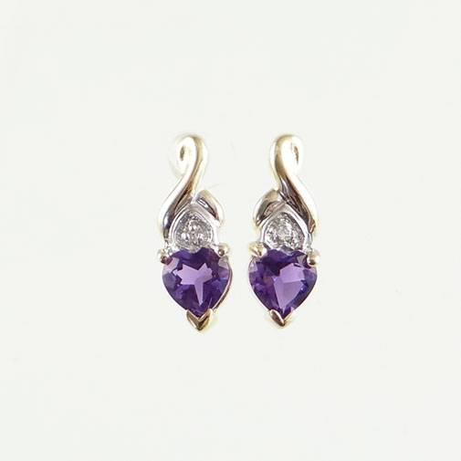 9ct Gold Amethyst Heart .43ct Earrings