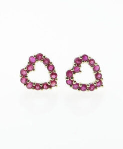 yellow gold ruby heart earrings