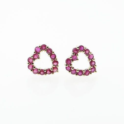 yellow gold ruby heart earrings