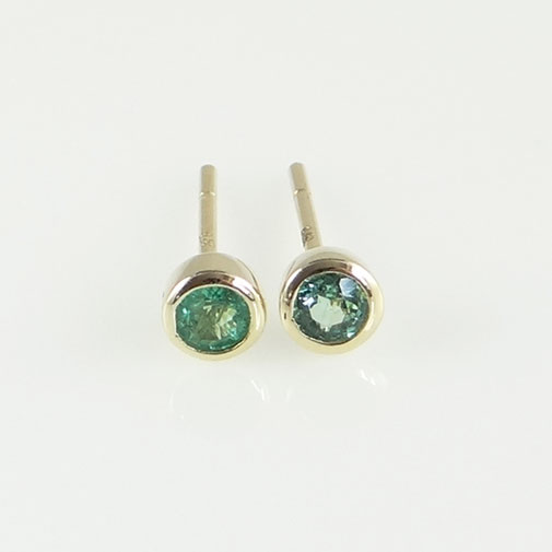 Gold Round Emerald Stud Earrings