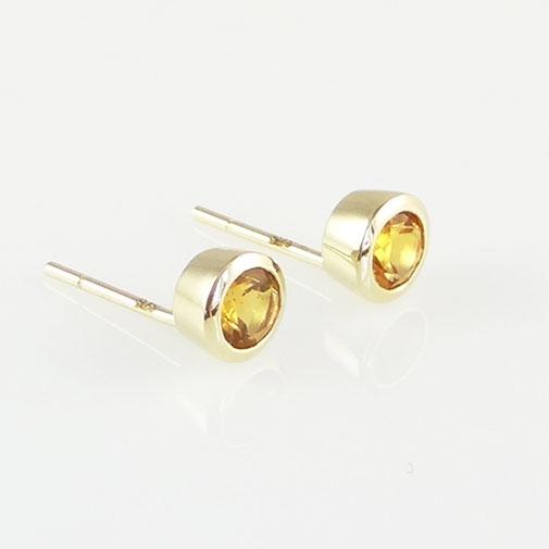 gold citrine stud earrings
