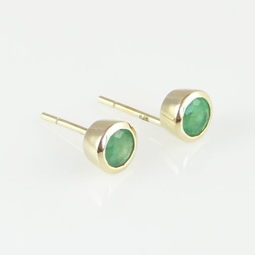 9ct Gold Round Emerald Stud Earrings
