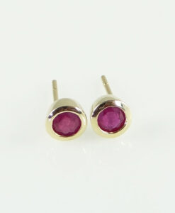 9ct Gold Round Ruby Stud Earrings