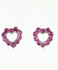 White Gold Ruby Heart Earrings