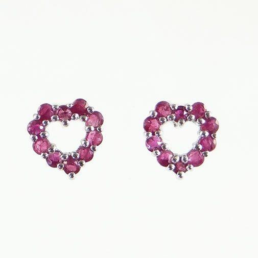 White Gold Ruby Heart Earrings