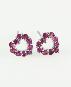 Ruby Heart Earrings 9ct White Gold Ruby Heart Earrings