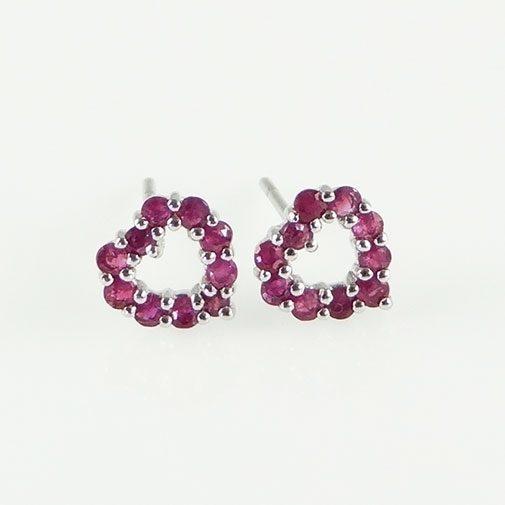 Ruby Heart Earrings 9ct White Gold Ruby Heart Earrings