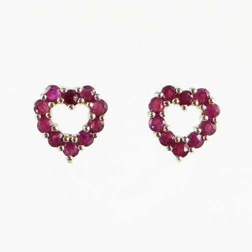 Gold Ruby Heart Earrings
