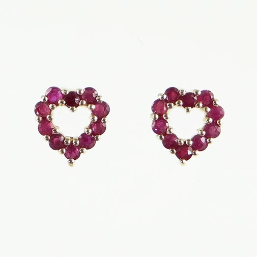 Gold Ruby Heart Earrings