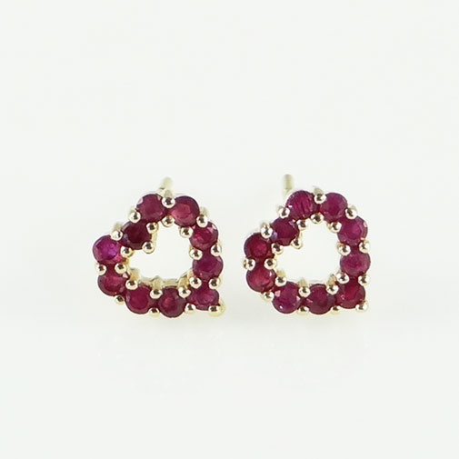 9ct Gold Ruby Heart Earrings