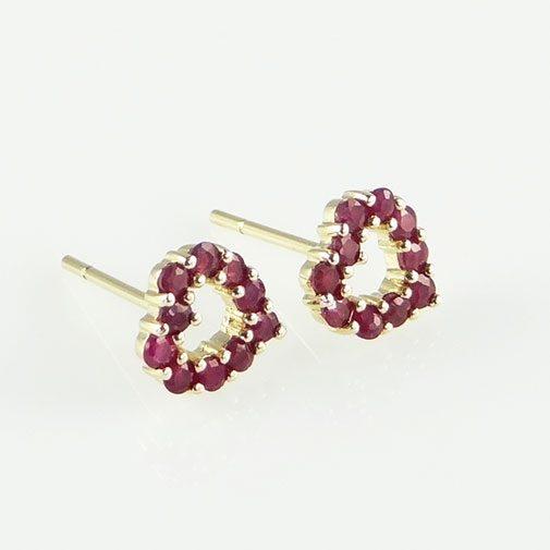 9ct Gold Ruby Heart Earrings