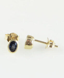 Gold Oval Sapphire Stud Earrings